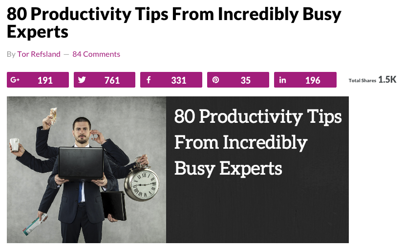 tor refsland 80 productivity tips from incredibly busy experts