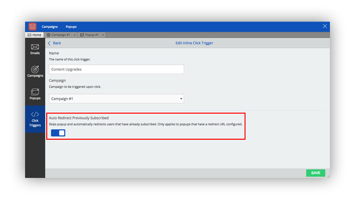 configuring click trigger sumome