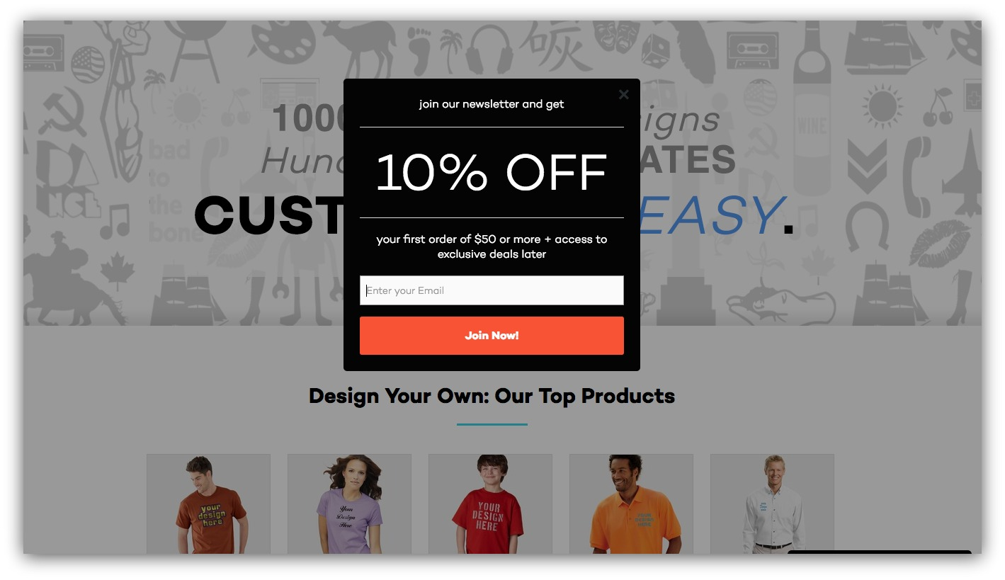 Popup example for discounts