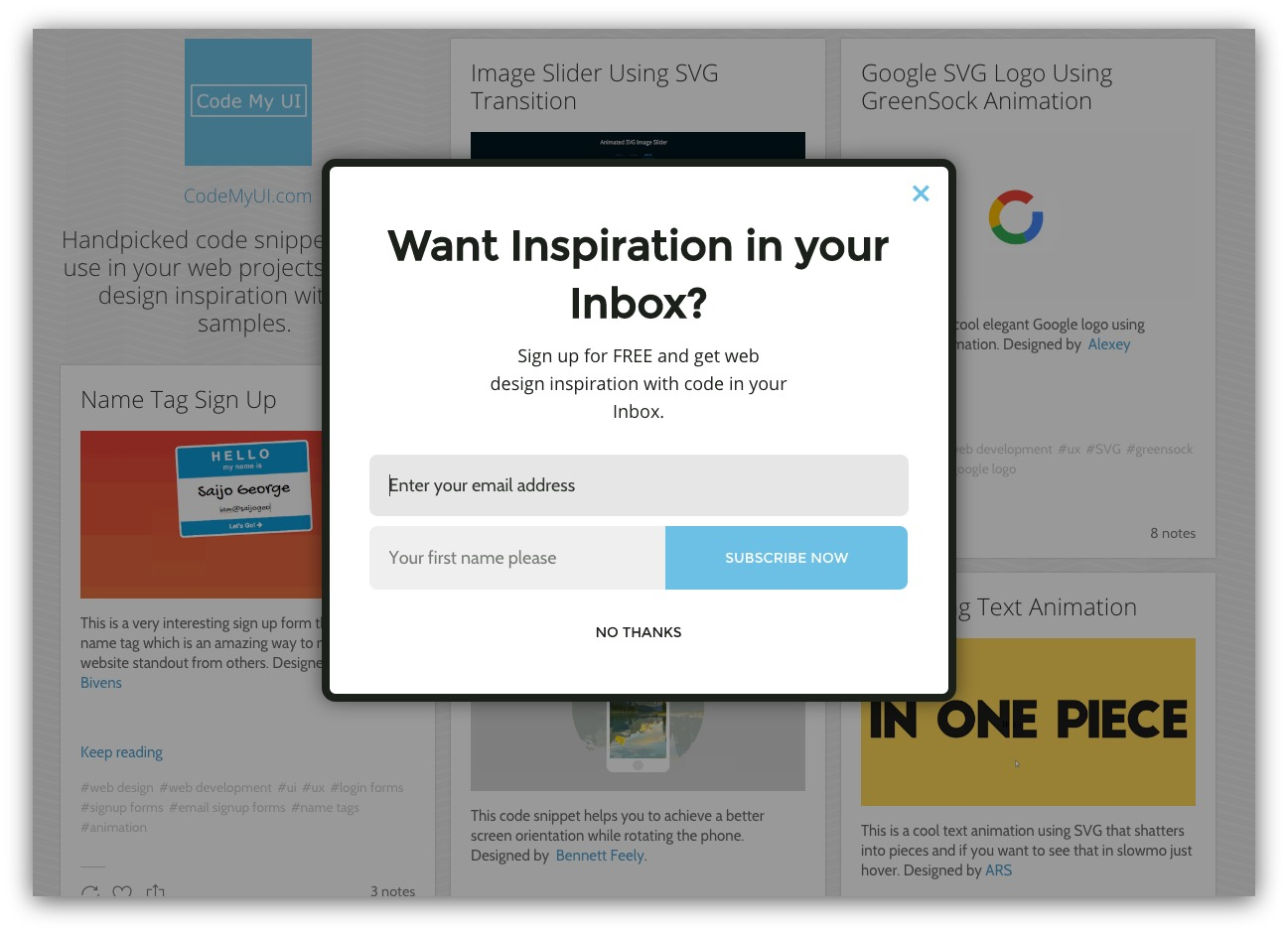Newsletter signup for blog pop-up example
