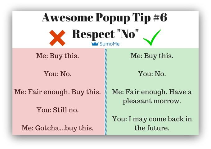 Pop-up tip respect the no