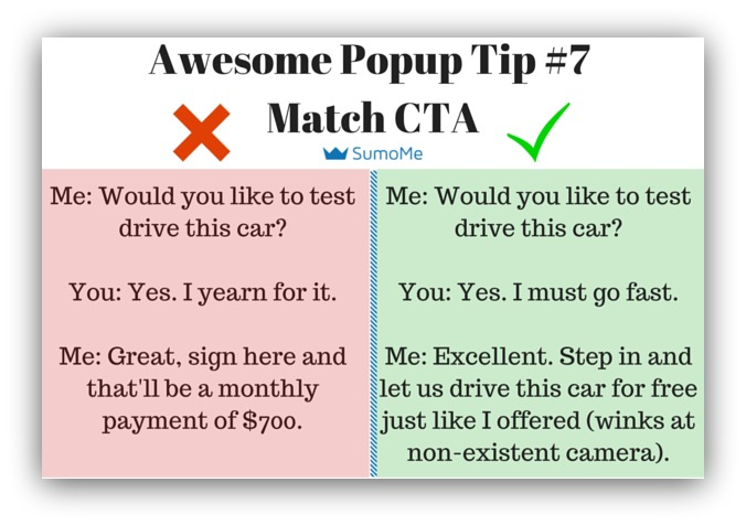 Pop-up tip match your call to action with offer