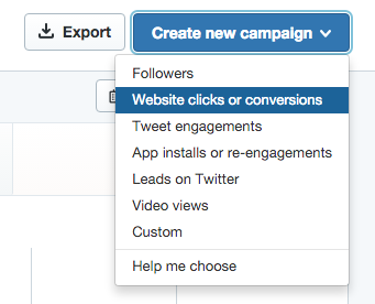 create a new ad campaign twitter tweet