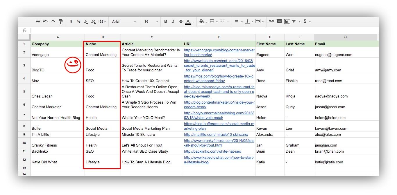 niche spreadsheet